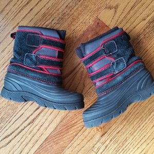 Red and Black Snow Boots Boys Size 12